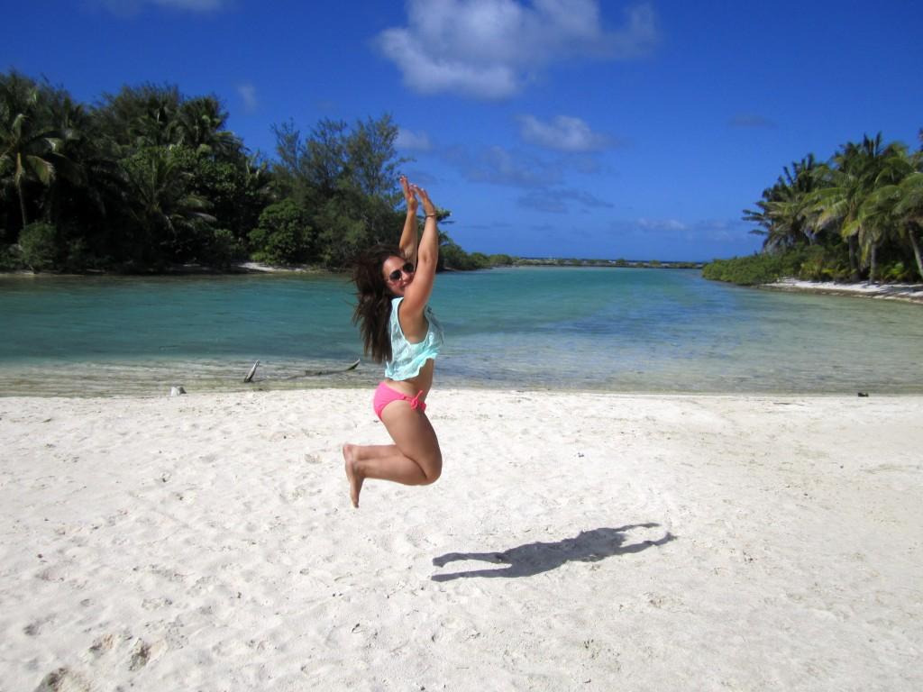 jumping in bora bora