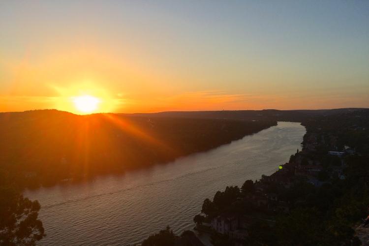 sunset mount bonnell austin texas