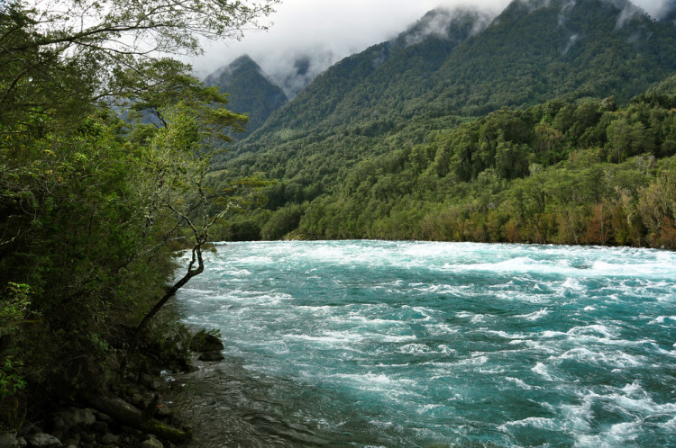 Full winter rivers near Petrohue, in Chile.