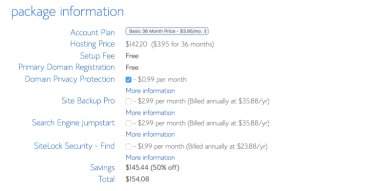 how to start a blog choosing options in bluehost