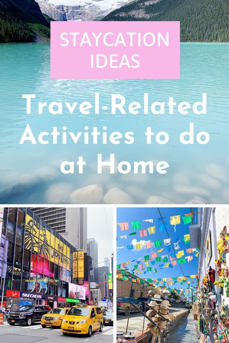Travel-themed Staycation Ideas to do from the comfort of your own living room! Tons of activities, virtual museum tours, lessons, and travel recipes inside! Perfect when you're stuck at home due to quarantines or lack of PTO!